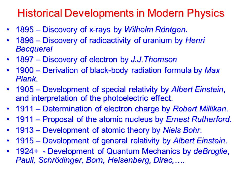 Historical Developments in Modern Physics 1895 – Discovery of x-rays by Wilhelm Röntgen.1895 – Discovery of x-rays by Wilhelm Röntgen.