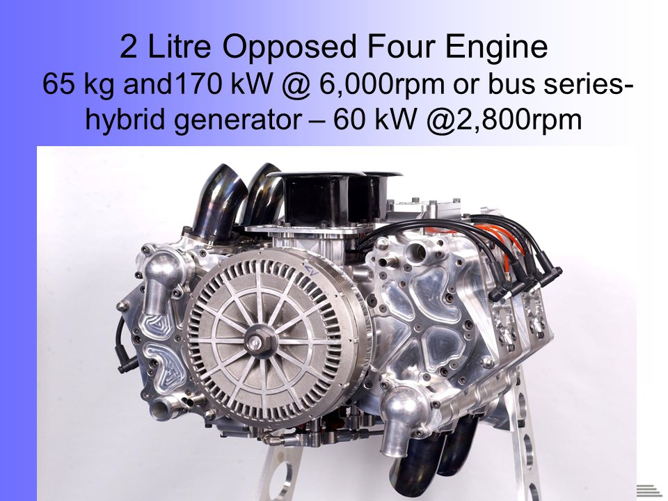 20 2 Litre Opposed Four Engine 65 kg and170 kW @ 6,000rpm or bus series- hybrid generator – 60 kW @2,800rpm