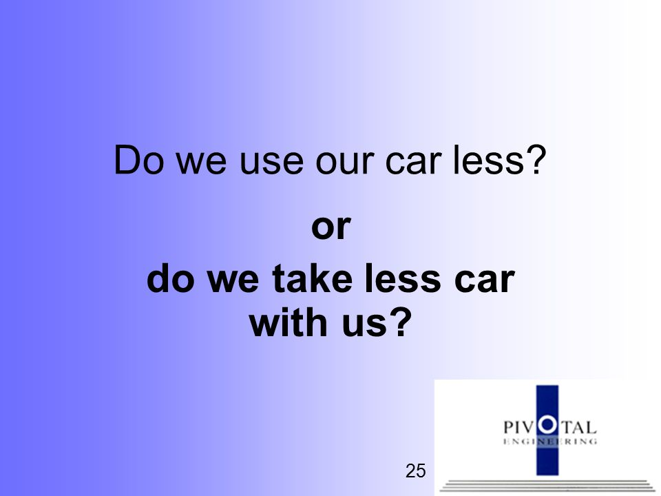 25 Do we use our car less or do we take less car with us