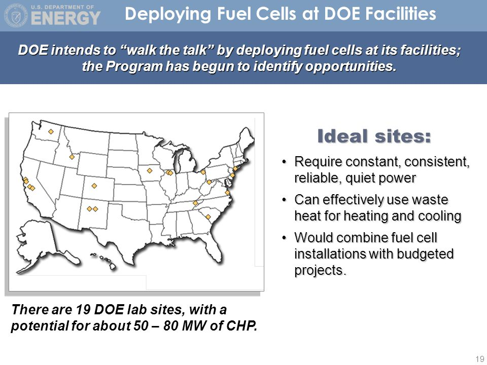 19 Deploying Fuel Cells at DOE Facilities DOE intends to walk the talk by deploying fuel cells at its facilities; the Program has begun to identify opportunities.