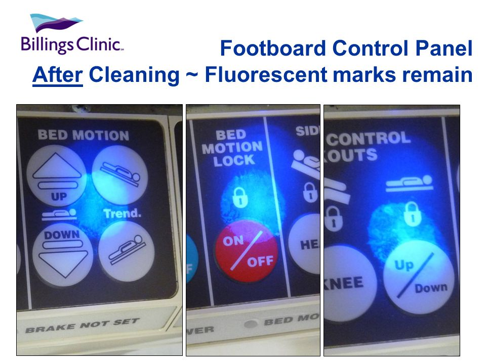 Footboard Control Panel After Cleaning ~ Fluorescent marks remain