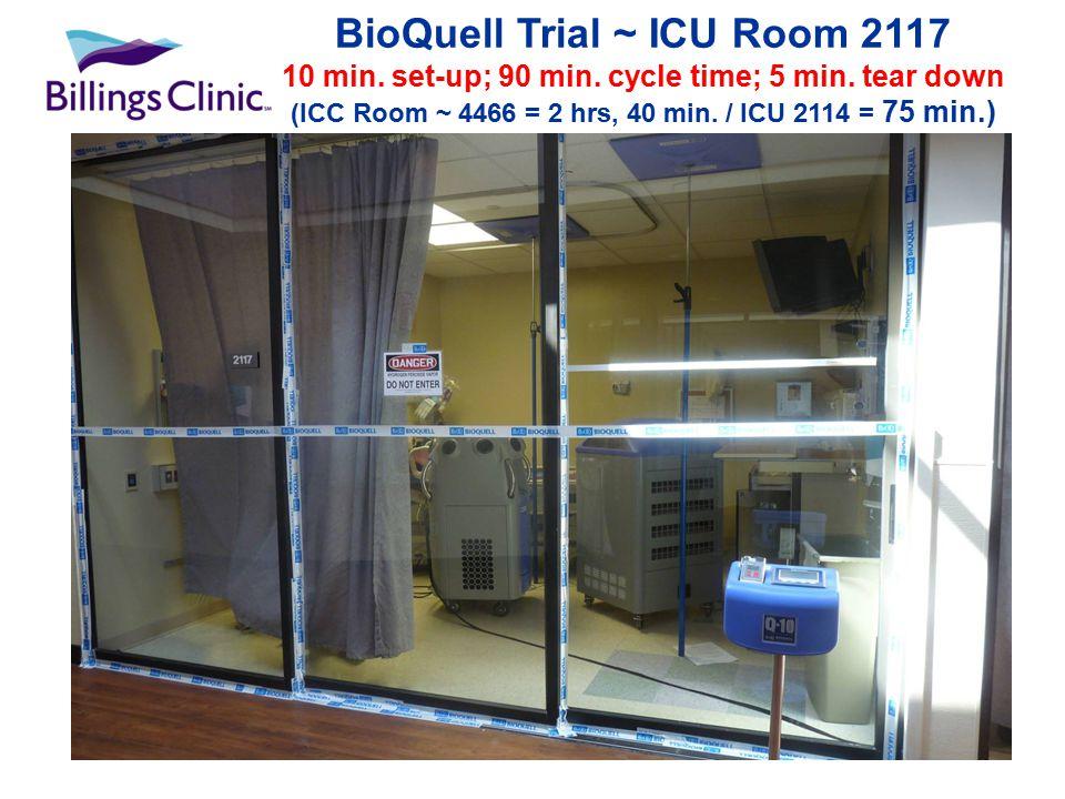 BioQuell Trial ~ ICU Room 2117 10 min. set-up; 90 min.