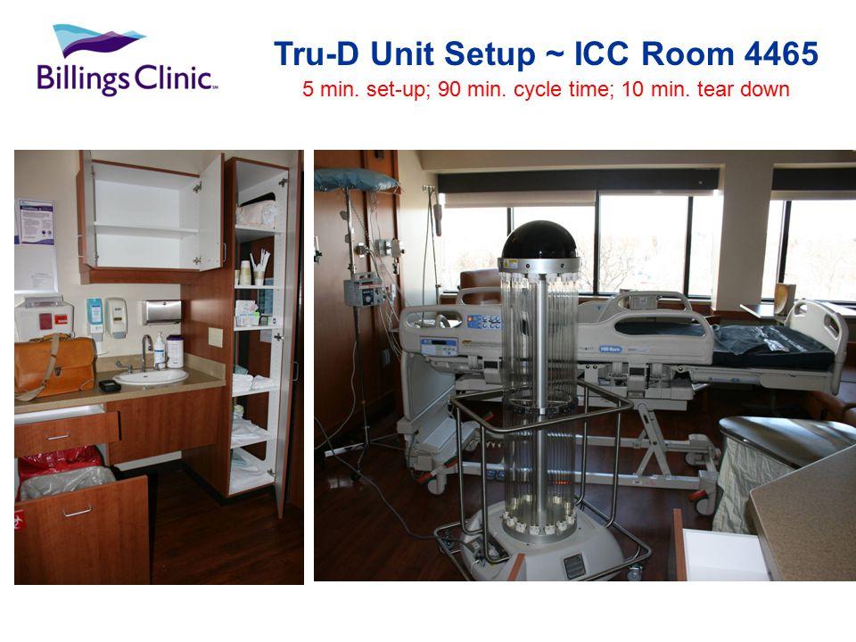 Tru-D Unit Setup ~ ICC Room 4465 5 min. set-up; 90 min. cycle time; 10 min. tear down