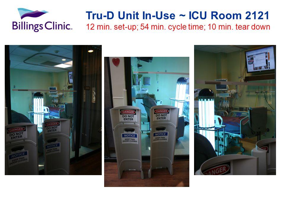 Tru-D Unit In-Use ~ ICU Room 2121 12 min. set-up; 54 min. cycle time; 10 min. tear down
