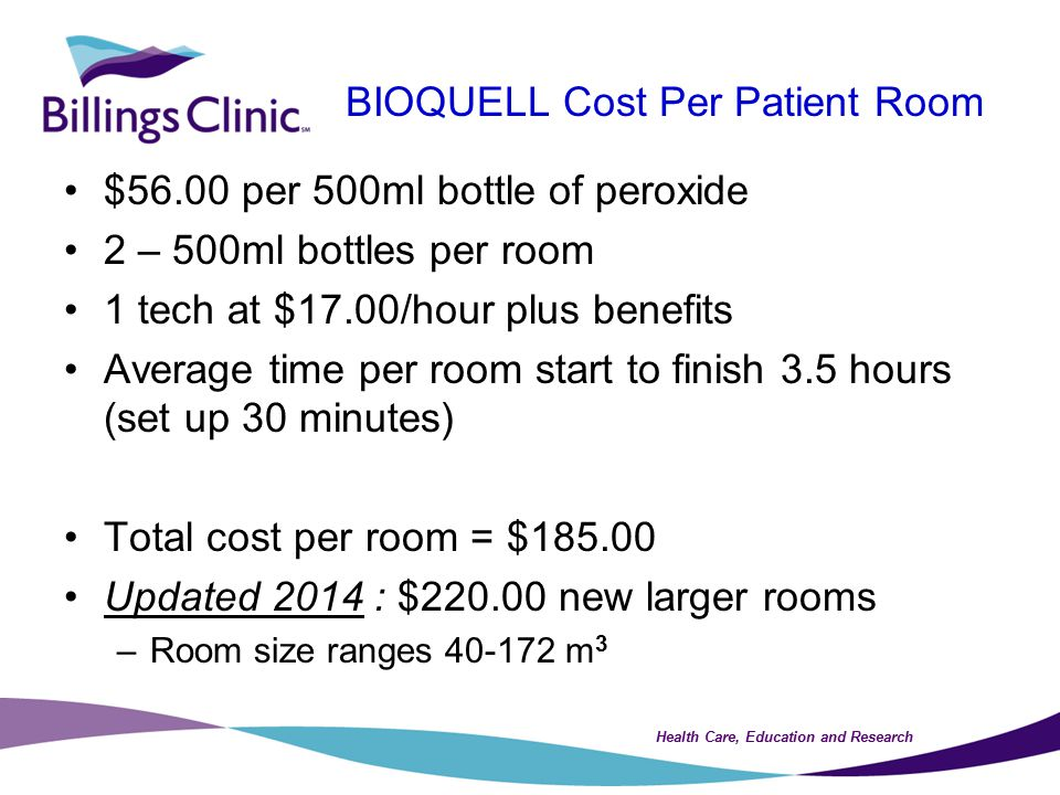 Health Care, Education and Research BIOQUELL Cost Per Patient Room $56.00 per 500ml bottle of peroxide 2 – 500ml bottles per room 1 tech at $17.00/hour plus benefits Average time per room start to finish 3.5 hours (set up 30 minutes) Total cost per room = $185.00 Updated 2014 : $220.00 new larger rooms –Room size ranges 40-172 m 3