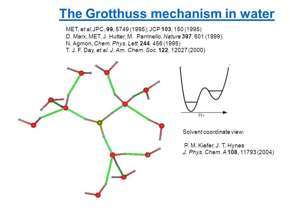 The Grotthuss mechanism in water MET, et al,JPC, 99, 5749 (1995); JCP 103, 150 (1995) D.