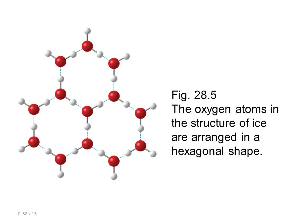 P. 37 / 15 hydrogen bond empty space a water molecule Fig. 28.4 The structure of ice.