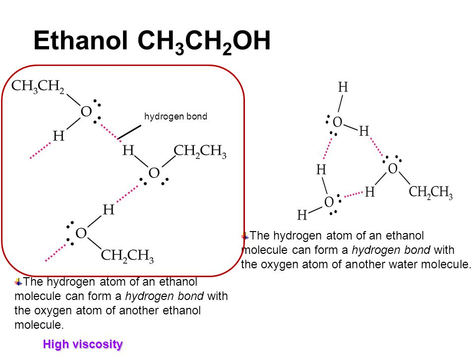 Ethanol CH 3 CH 2 OH hydrogen bond The hydrogen atom of an ethanol molecule can form a hydrogen bond with the oxygen atom of another ethanol molecule.