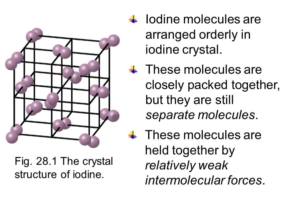 Molecular crystals Crystals having an ordered arrangement of molecules are called molecular crystals. table sugar ice Examples: ice, table sugar and i