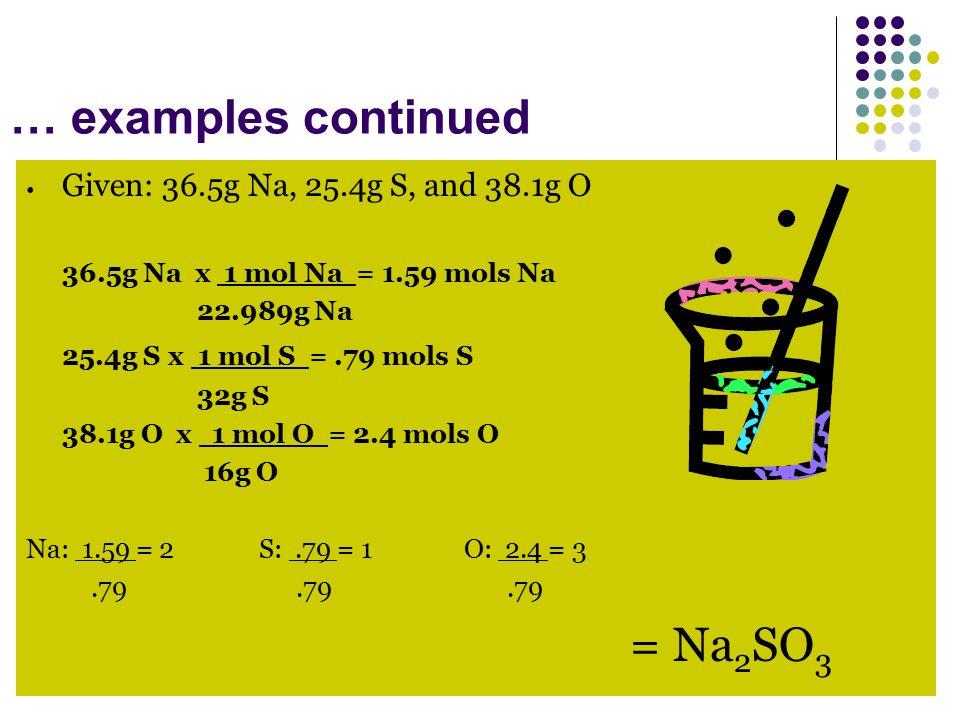 … examples continued Given: 36.5g Na, 25.4g S, and 38.1g O 36.5g Na x 1 mol Na = 1.59 mols Na 22.989g Na 25.4g S x 1 mol S =.79 mols S 32g S 38.1g O x 1 mol O = 2.4 mols O 16g O Na: 1.59 = 2 S:.79 = 1 O: 2.4 = 3.79.79.79 = Na 2 SO 3