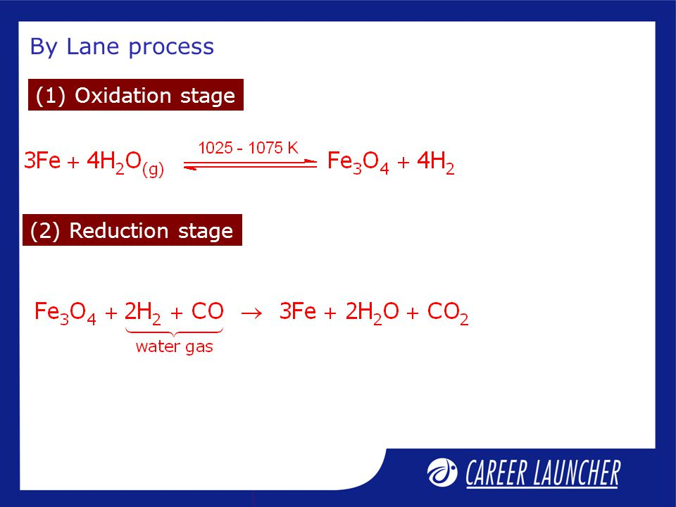 By Lane process (2) Reduction stage (1) Oxidation stage