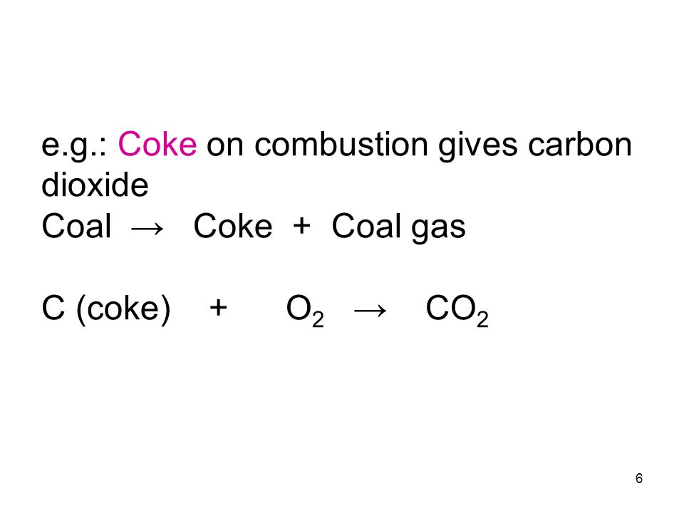6 e.g.: Coke on combustion gives carbon dioxide Coal → Coke + Coal gas C (coke) + O 2 → CO 2