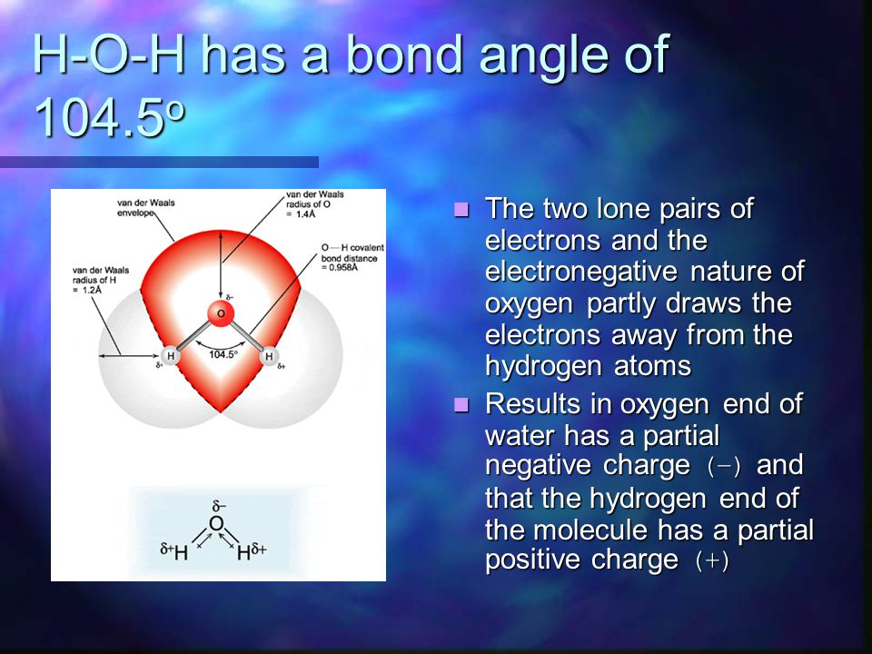 H-O-H has a bond angle of 104.5 o The two lone pairs of electrons and the electronegative nature of oxygen partly draws the electrons away from the hy