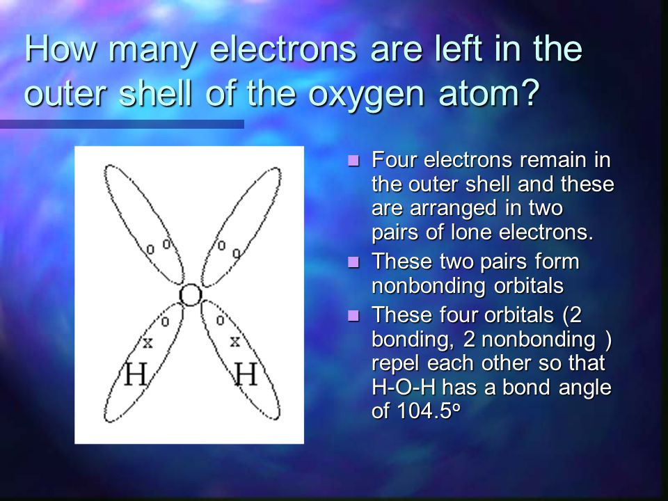 How many electrons are left in the outer shell of the oxygen atom? Four electrons remain in the outer shell and these are arranged in two pairs of lon