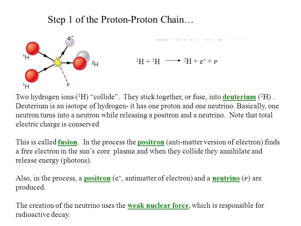 Step 1 of the Proton-Proton Chain… 1 H + 1 H 2 H + e + + Two hydrogen ions ( 1 H) collide .