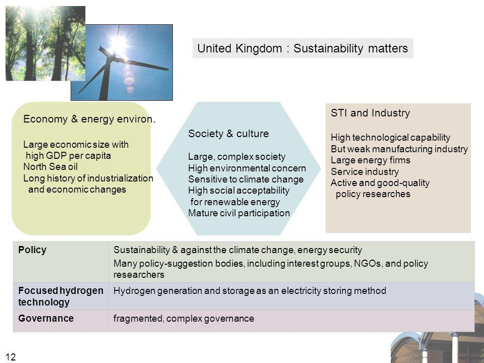 12 United Kingdom : Sustainability matters Economy & energy environ.