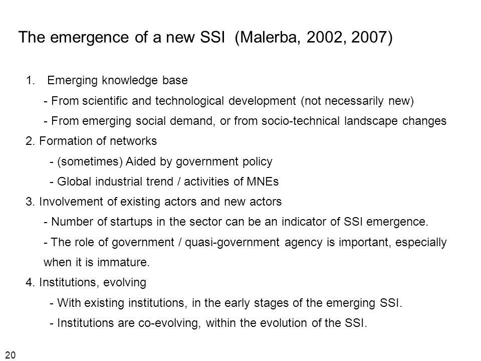 20 The emergence of a new SSI (Malerba, 2002, 2007) 1.