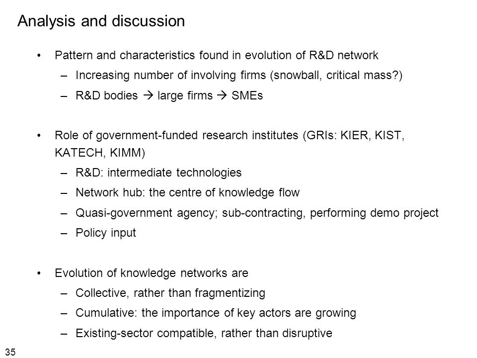 35 Analysis and discussion Pattern and characteristics found in evolution of R&D network –Increasing number of involving firms (snowball, critical mas