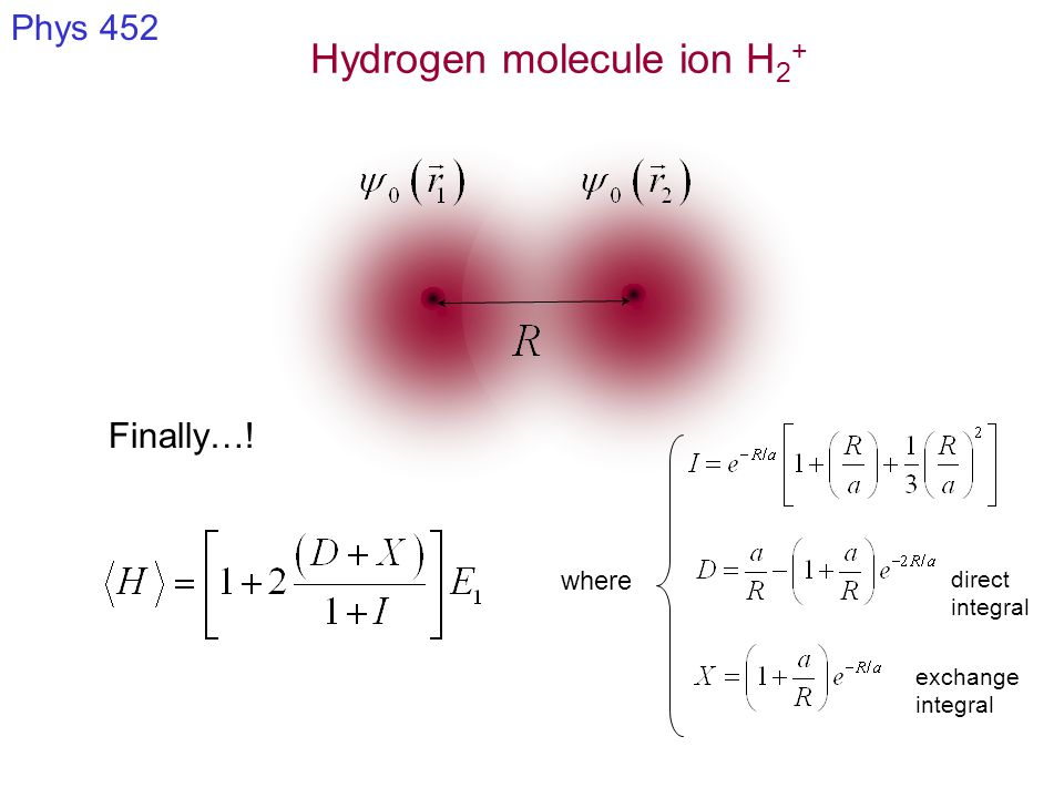 Hydrogen molecule ion H 2 + Phys 452 where direct integral exchange integral Finally…!