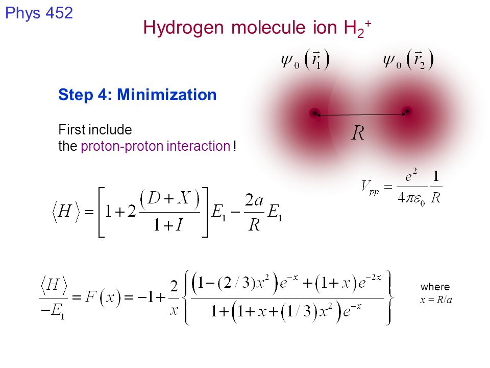 Hydrogen molecule ion H 2 + Phys 452 Step 4: Minimization Presence of a minimum: Evidence of bonding Equilibrium separation distance: