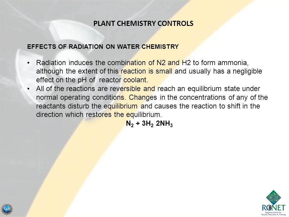 8 EFFECTS OF RADIATION ON WATER CHEMISTRY Radiation induces the combination of N2 and H2 to form ammonia, although the extent of this reaction is smal