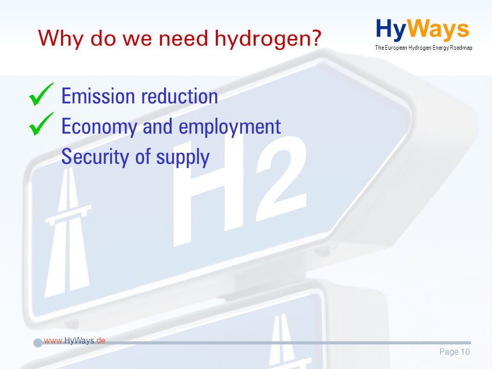 Page 10 www.HyWays.de HyWays The European Hydrogen Energy Roadmap Why do we need hydrogen.