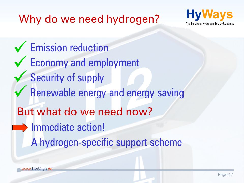 Page 17 www.HyWays.de HyWays The European Hydrogen Energy Roadmap Why do we need hydrogen.