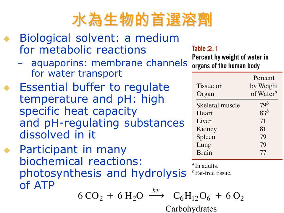 Chapter 2: Biomolecules in Water  水做為溶劑之特殊性  非共價作用力  解離常數與 pH  緩衝溶液