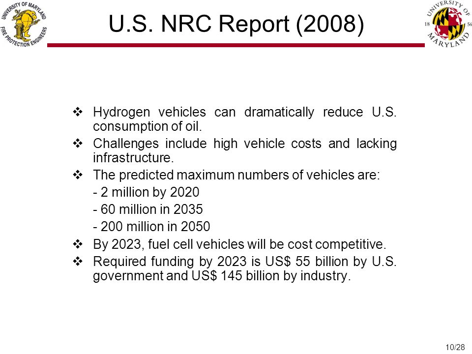 10/28 U.S.NRC Report (2008)  Hydrogen vehicles can dramatically reduce U.S.
