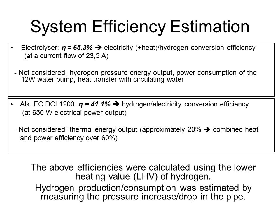 System Efficiency Estimation Electrolyser: η = 65.3%  electricity (+heat)/hydrogen conversion efficiency (at a current flow of 23,5 A) - Not considered: hydrogen pressure energy output, power consumption of the 12W water pump, heat transfer with circulating water The above efficiencies were calculated using the lower heating value (LHV) of hydrogen.