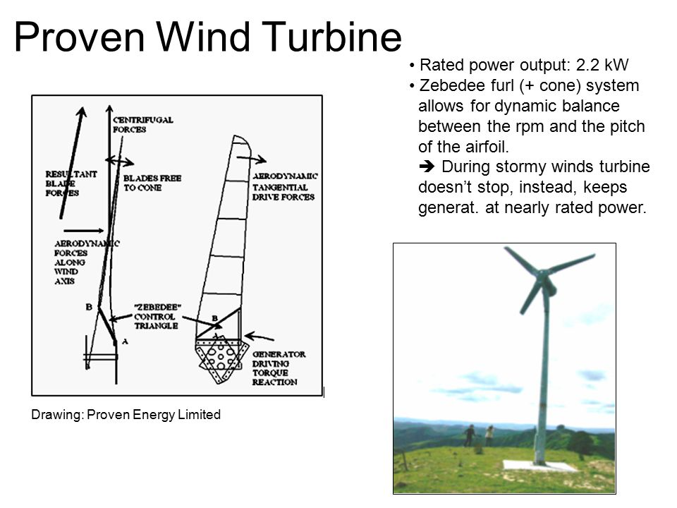 Proven Wind Turbine Rated power output: 2.2 kW Zebedee furl (+ cone) system allows for dynamic balance between the rpm and the pitch of the airfoil.
