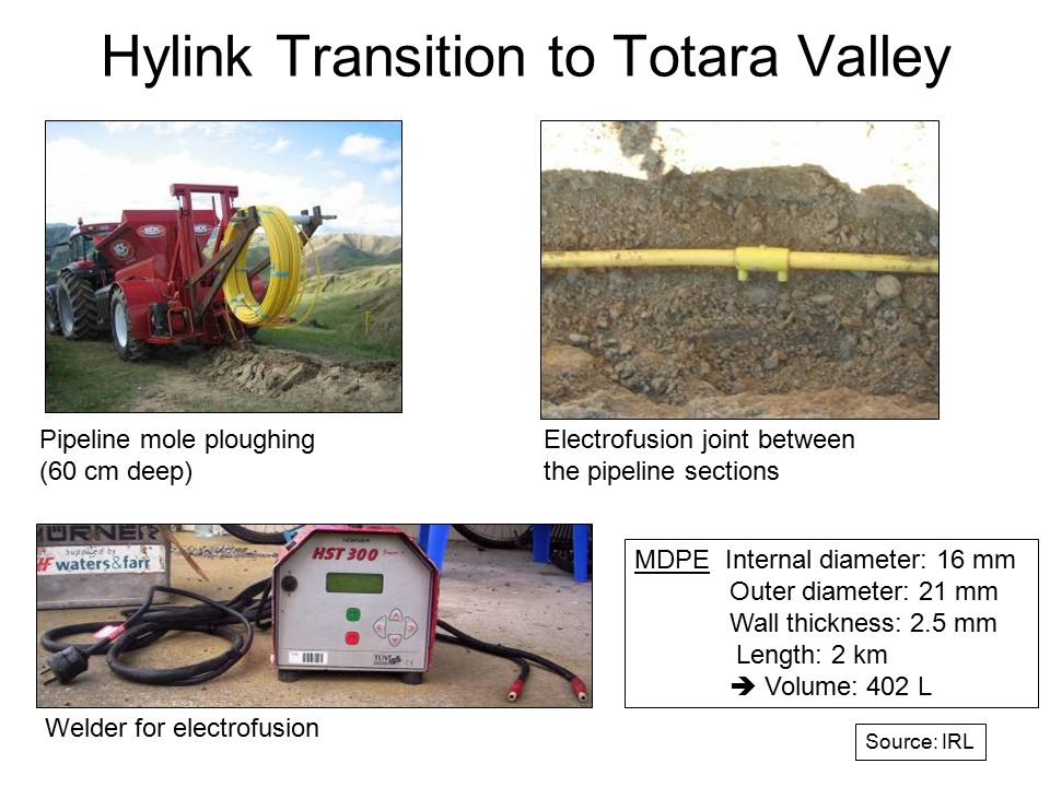 Hylink Transition to Totara Valley Pipeline mole ploughing (60 cm deep) Electrofusion joint between the pipeline sections MDPE Internal diameter: 16 mm Outer diameter: 21 mm Wall thickness: 2.5 mm Length: 2 km  Volume: 402 L Welder for electrofusion Source: IRL