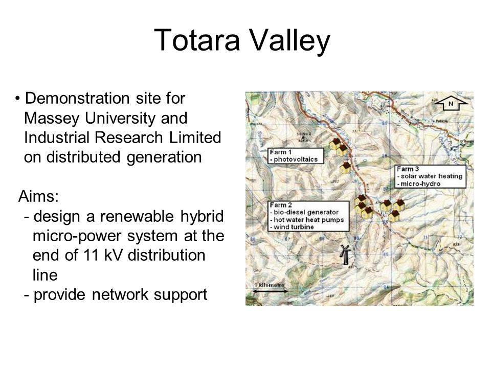 Totara Valley Demonstration site for Massey University and Industrial Research Limited on distributed generation Aims: - design a renewable hybrid micro-power system at the end of 11 kV distribution line - provide network support