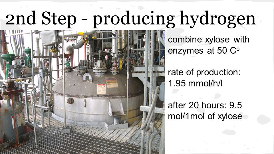 2nd Step - producing hydrogen combine xylose with enzymes at 50 C o rate of production: 1.95 mmol/h/l after 20 hours: 9.5 mol/1mol of xylose