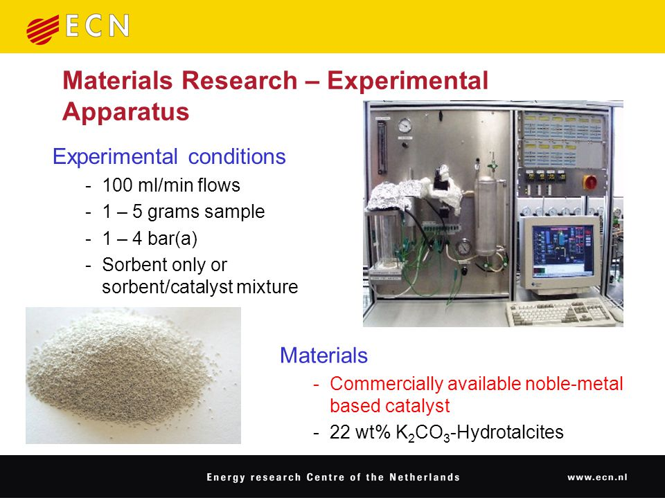 Experimental conditions -100 ml/min flows -1 – 5 grams sample -1 – 4 bar(a) -Sorbent only or sorbent/catalyst mixture Materials Research – Experimental Apparatus Materials -Commercially available noble-metal based catalyst -22 wt% K 2 CO 3 -Hydrotalcites