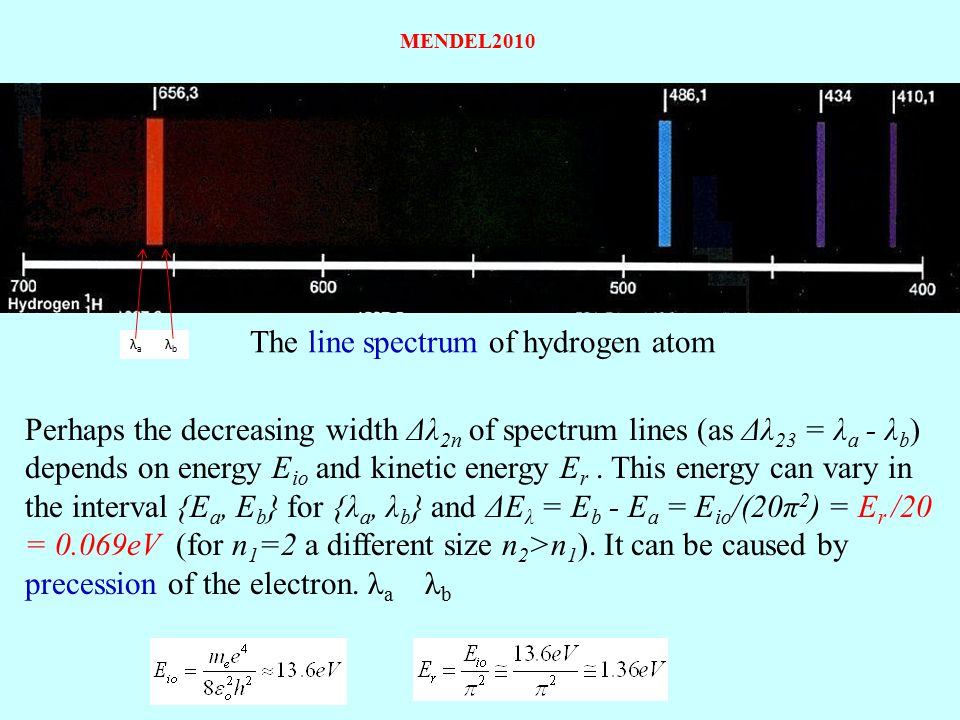 The line spectrum of hydrogen atom Perhaps the decreasing width Δλ 2n of spectrum lines (as Δλ 23 = λ a - λ b ) depends on energy E io and kinetic ene