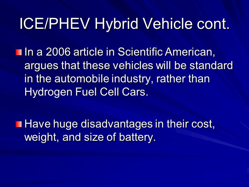 ICE/PHEV Hybrid Vehicle cont.