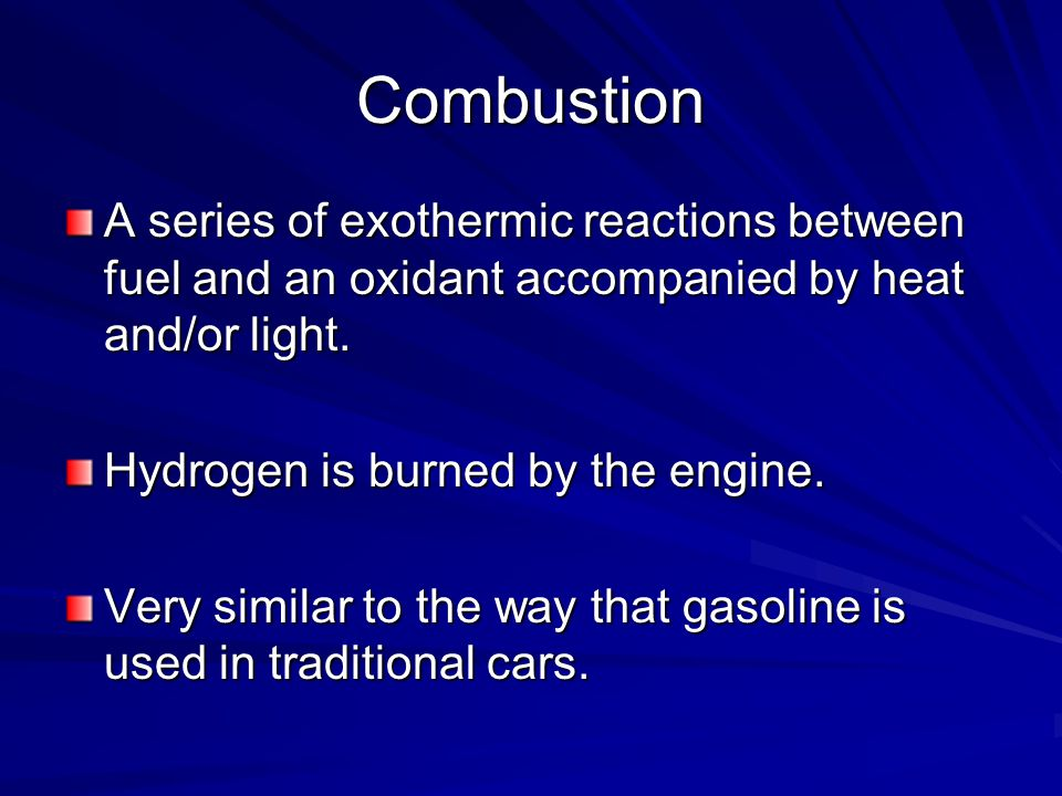 Combustion A series of exothermic reactions between fuel and an oxidant accompanied by heat and/or light.