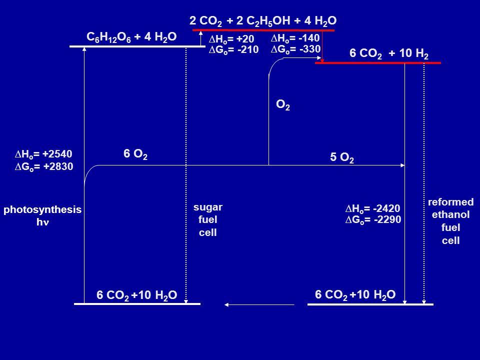photosynthesis h 2 CO 2 + 2 C 2 H 5 OH + 4 H 2 O 6 CO 2 + 10 H 2 ∆H o = +20 ∆G o = -210 ∆H o = -140 ∆G o = -330 6 CO 2 +10 H 2 O 5 O 2 O2O2 ∆H o = -2420 ∆G o = -2290 reformed ethanol fuel cell C 6 H 12 O 6 + 4 H 2 O 6 CO 2 +10 H 2 O ∆H o = +2540 ∆G o = +2830 sugar fuel cell 6 O 2