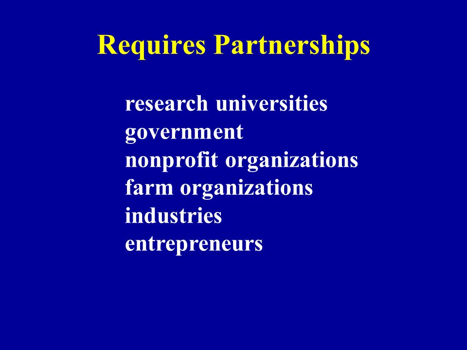Requires Partnerships research universities government nonprofit organizations farm organizations industries entrepreneurs