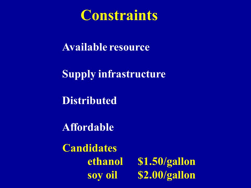 Constraints Available resource Supply infrastructure Distributed Affordable Candidates ethanol$1.50/gallon soy oil$2.00/gallon