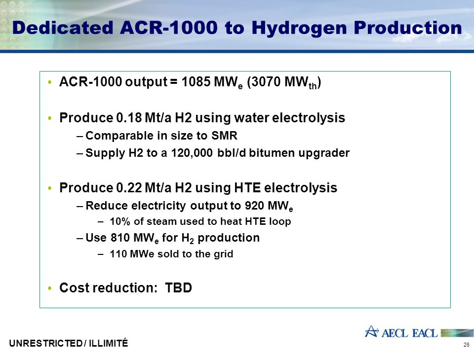 UNRESTRICTED / ILLIMITÉ 26 Dedicated ACR-1000 to Hydrogen Production ACR-1000 output = 1085 MW e (3070 MW th ) Produce 0.18 Mt/a H2 using water electrolysis –Comparable in size to SMR –Supply H2 to a 120,000 bbl/d bitumen upgrader Produce 0.22 Mt/a H2 using HTE electrolysis –Reduce electricity output to 920 MW e –10% of steam used to heat HTE loop –Use 810 MW e for H 2 production –110 MWe sold to the grid Cost reduction: TBD
