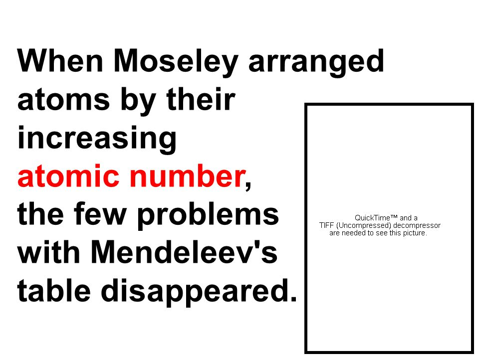 When Moseley arranged atoms by their increasing atomic number, the few problems with Mendeleev's table disappeared.