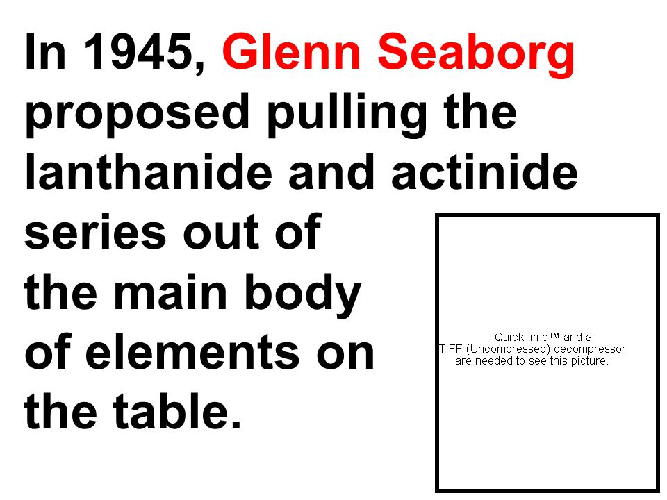 In 1945, Glenn Seaborg proposed pulling the lanthanide and actinide series out of the main body of elements on the table.