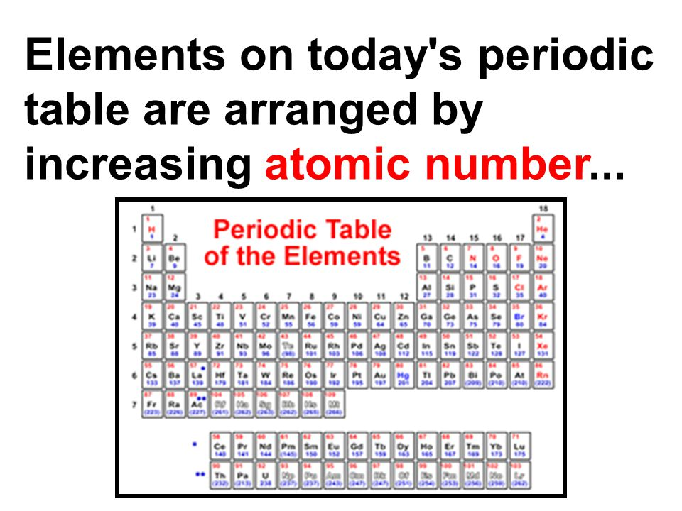 Elements on today s periodic table are arranged by increasing atomic number...
