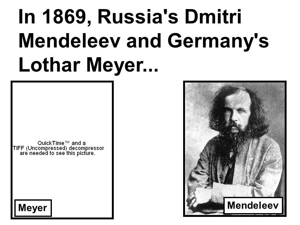 In 1869, Russia s Dmitri Mendeleev and Germany s Lothar Meyer... Meyer Mendeleev