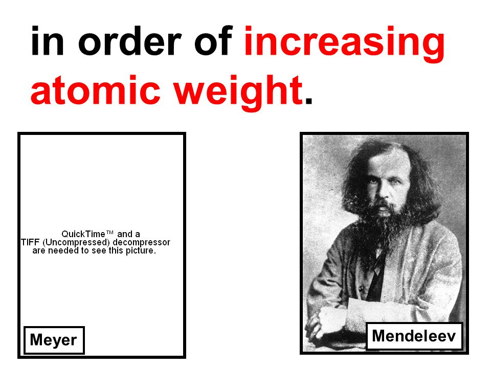 in order of increasing atomic weight. Meyer Mendeleev