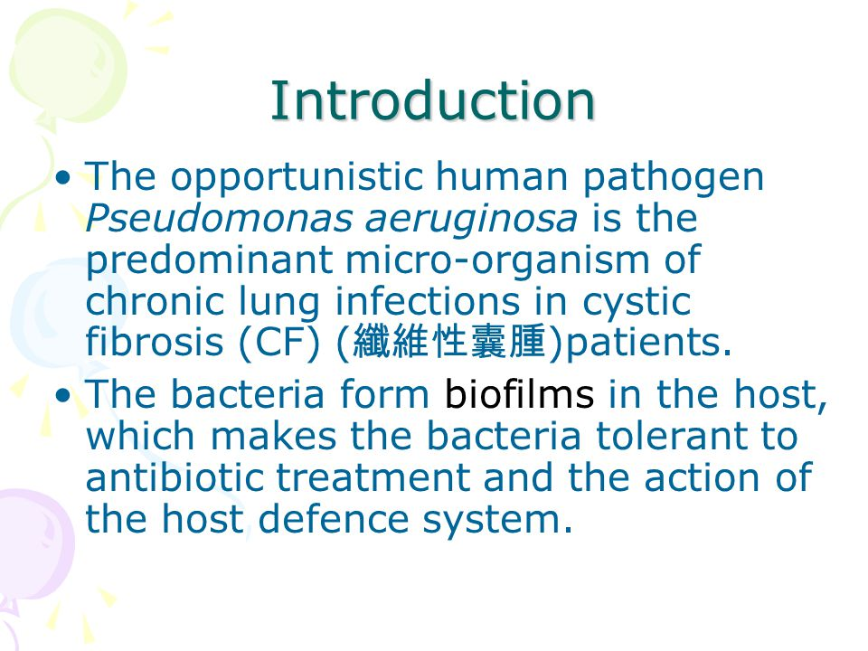Introduction The opportunistic human pathogen Pseudomonas aeruginosa is the predominant micro-organism of chronic lung infections in cystic fibrosis (CF) ( 纖維性囊腫 )patients.