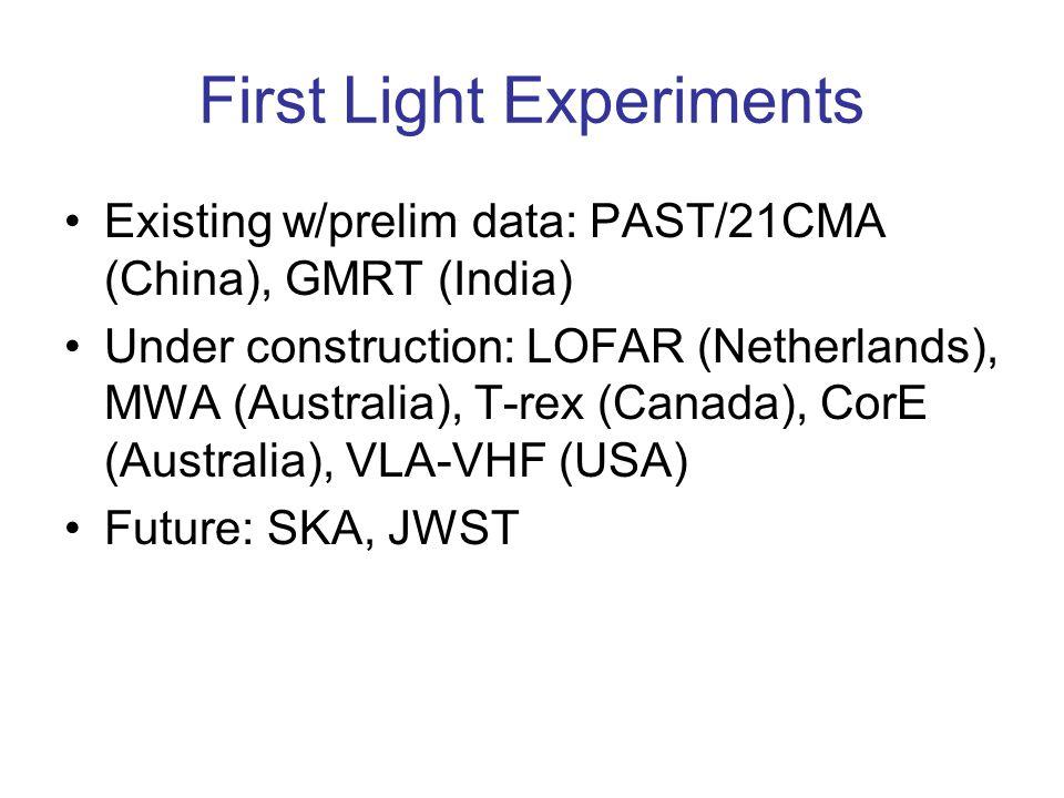 First Light Experiments Existing w/prelim data: PAST/21CMA (China), GMRT (India) Under construction: LOFAR (Netherlands), MWA (Australia), T-rex (Canada), CorE (Australia), VLA-VHF (USA) Future: SKA, JWST