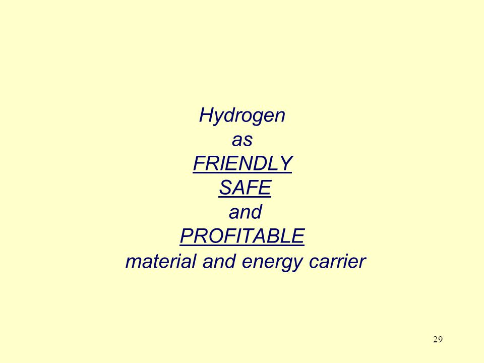 29 Hydrogen as FRIENDLY SAFE and PROFITABLE material and energy carrier